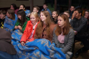 Milana (right) and Katya (center) participated in the minicamp hosted by Artem's church.